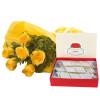 Fathers Day Yellow Roses N Kaju Katli