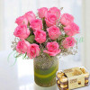 Pink Roses Arrangement With Rocher