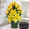 Sunshine Vase Arrangement With Cake
