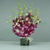 15 Purple Orchids Vase Arrangement