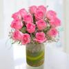 15 Pink Roses Vase Arrangement