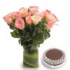 Vase N Pink Roses