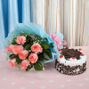 Fresh Blush Flowers 8 Pink Roses with Black Forst Cake