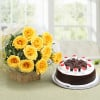 Starburst Yellow Roses N Cake