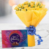 Yellow Roses with Celebration Chocolates