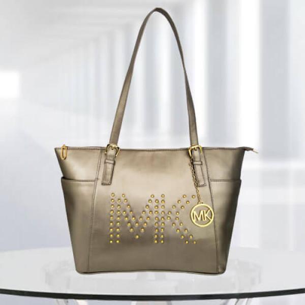 MK Zinnia Studded Gun Metal Color Bag