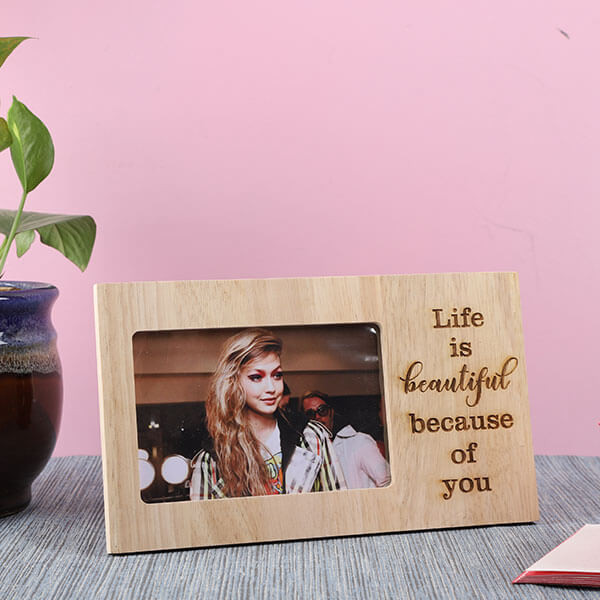 Customised Life Is Beautiful Wooden Frame