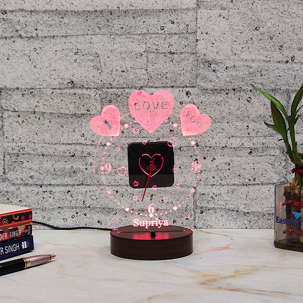Birthday Led Lamp with Clock