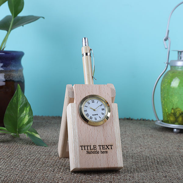 Wooden Pen Holder Clock