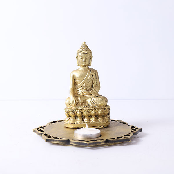 Golden Meditating Buddha With Designer Wooden Base And T Light