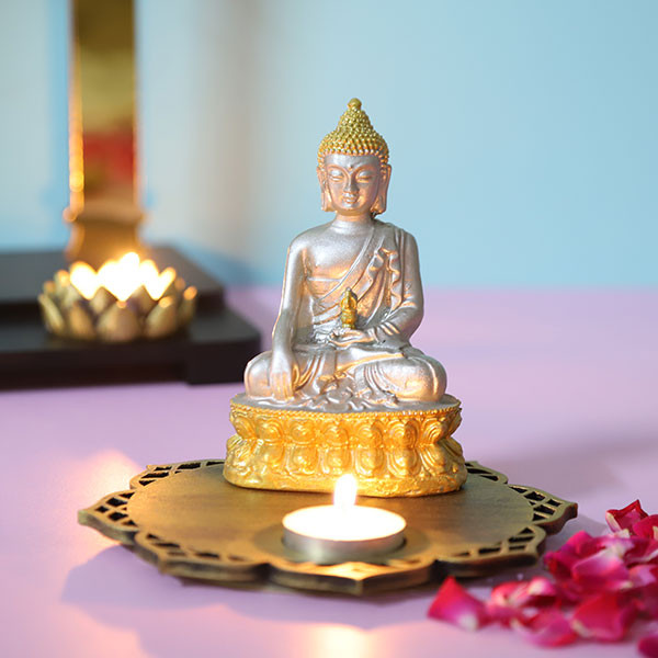 Silver Meditating Buddha With Decorative Wooden Base And T Light