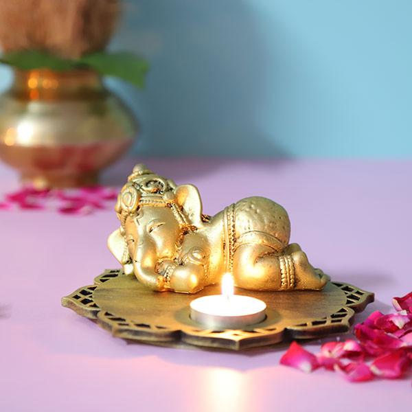 Sleeping Ganesha Idol With Decorative Wooden Base And T Light