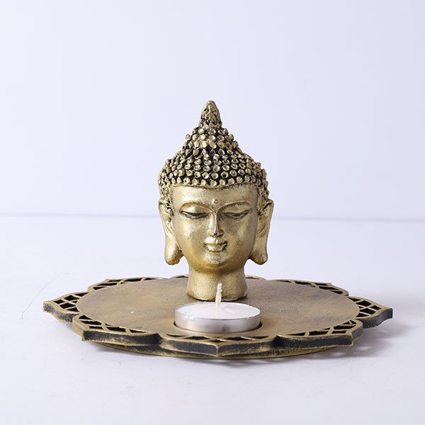 Buddha Head Idol With Decorative Wooden Base And T Light