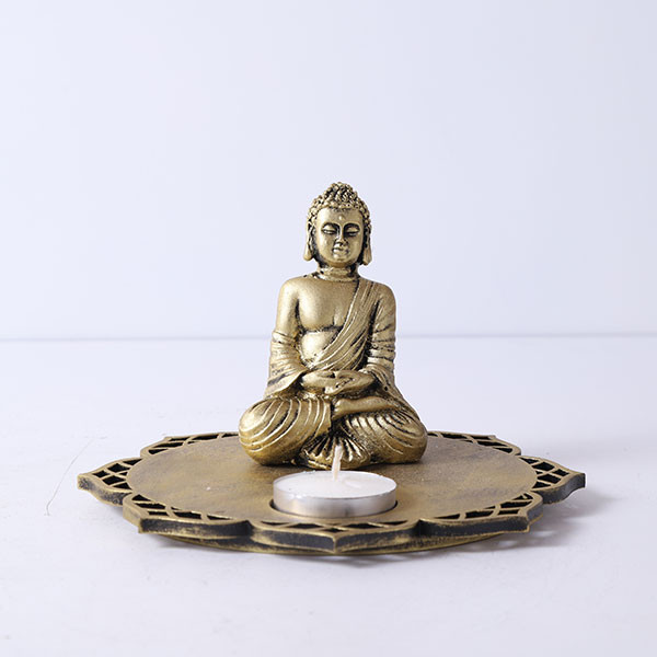 Buddha With Decorative Wooden Tray Base And T Light