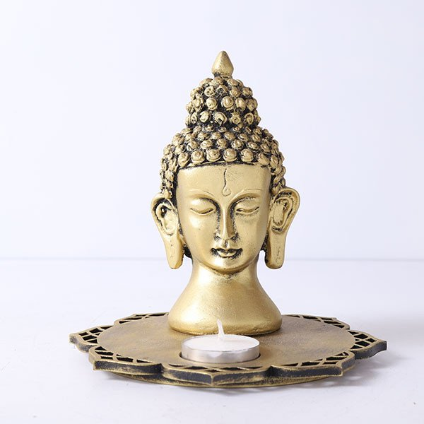 Buddha Head With Decorative Wooden Tray And T Light