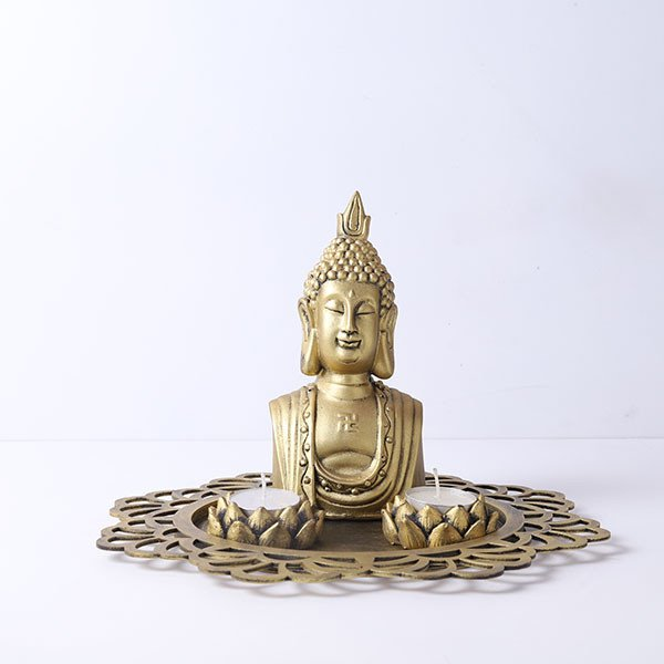 Buddha Head Idol With Decorative Wooden Tray And T Light