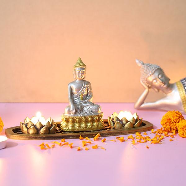Serene Buddha In An Oval Shape Tray