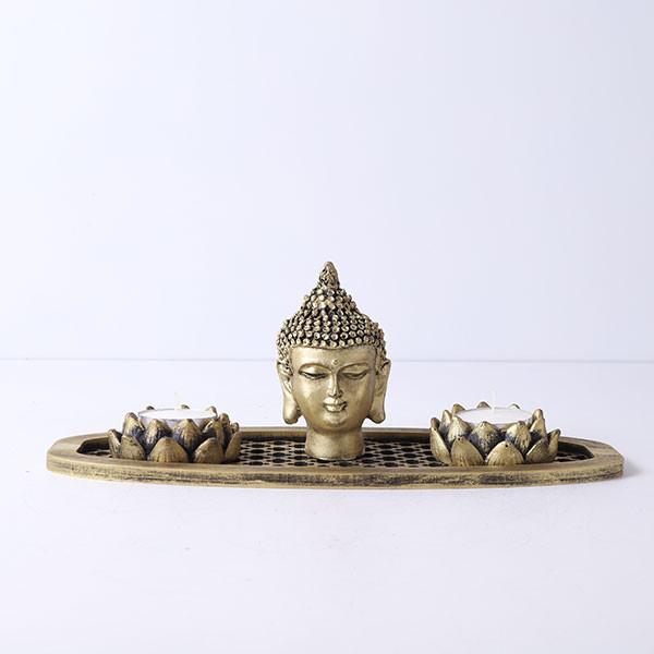 Buddha God Head In An Oval Shape Tray