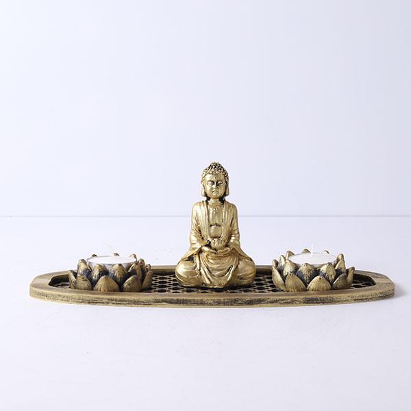 Meditating Buddha In An Oval Shape Tray