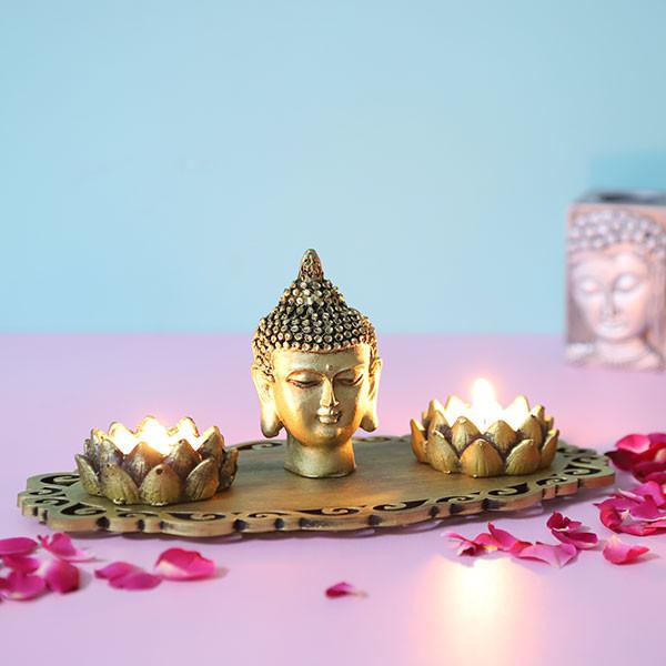 Buddha God Head With T Light Holders