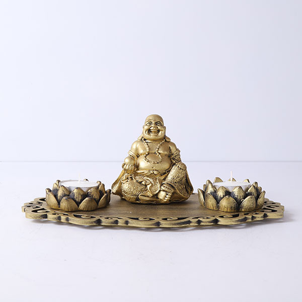 Laughing Buddha With Lotus Shape T Light Holders And Decorative Tray