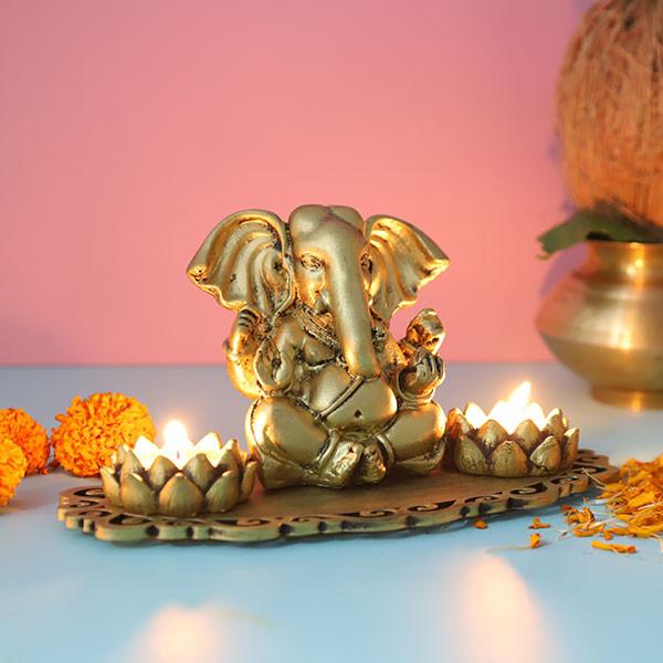 Ganpati With Lotus Shape T Light Holder