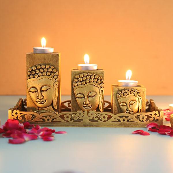 Set Of 3 Antique Gold Finish Buddha