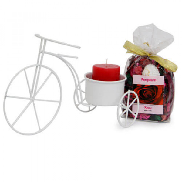 Cycle Candle Holder And Potpourri