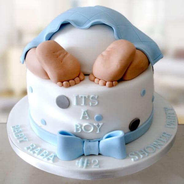 Yellow Baby Bum Baby Shower Cake