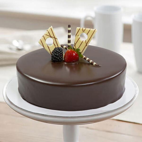 Chocolate Truffle Yellow Leaves Cake