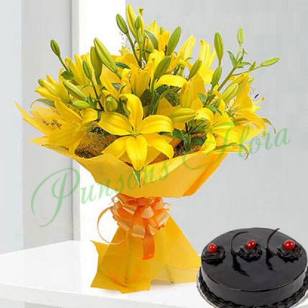 Bright Yellow Asiatic Lilies n Cake
