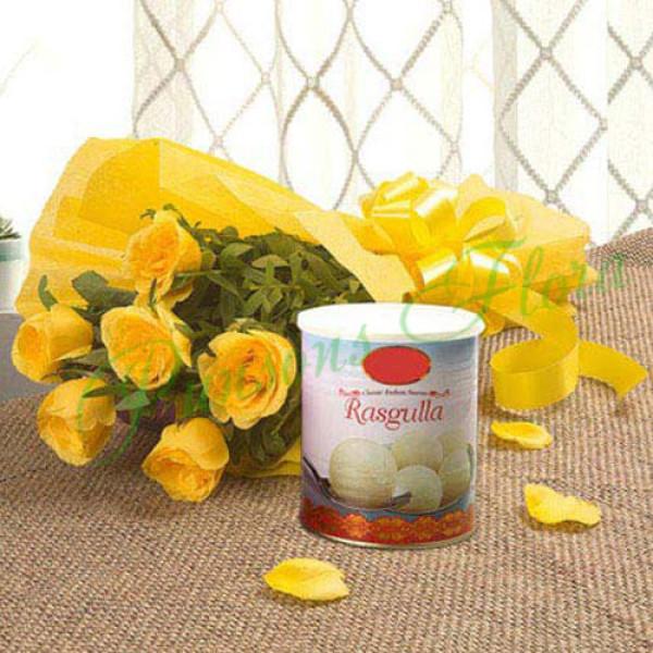 Fathers Day Spl Yellow Roses N Rasgulla