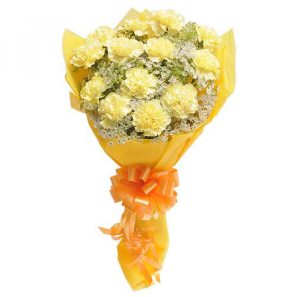 Bright N Sunny 15 Yellow Carnations
