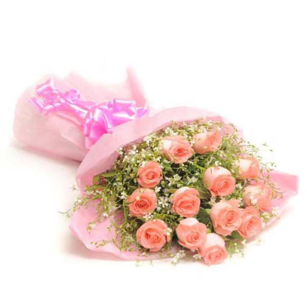 Fresh Blush 12 Pink Roses