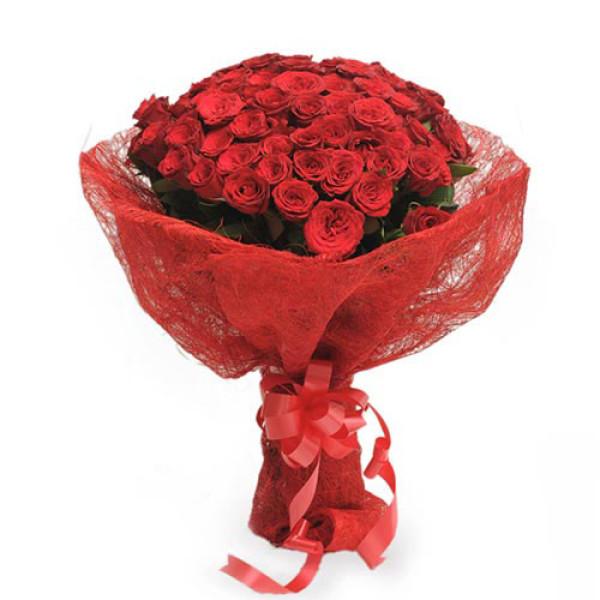Roses In Jute Packing 50 Red Roses