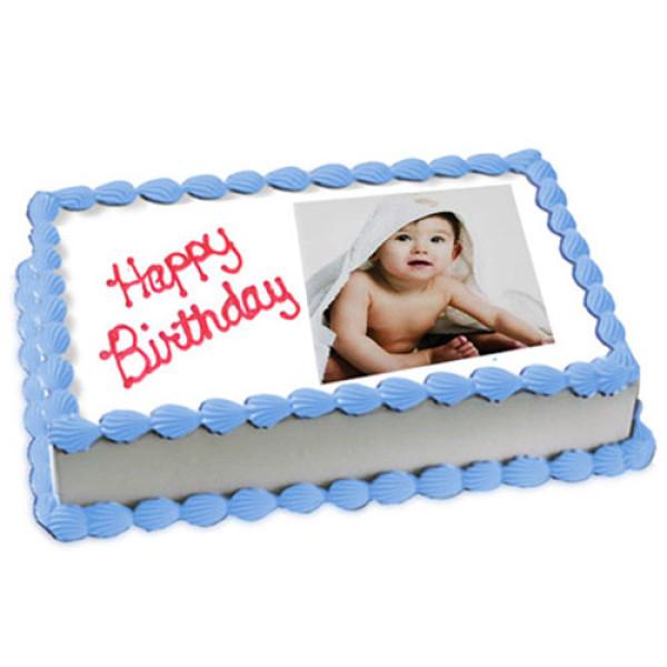 1kg Photo Cake Vanilla Sponge Eggless - Birthday Cake Online Delivery