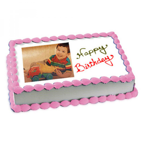 1kg Photo Cake Butterscotch Eggless - Birthday Cake Online Delivery