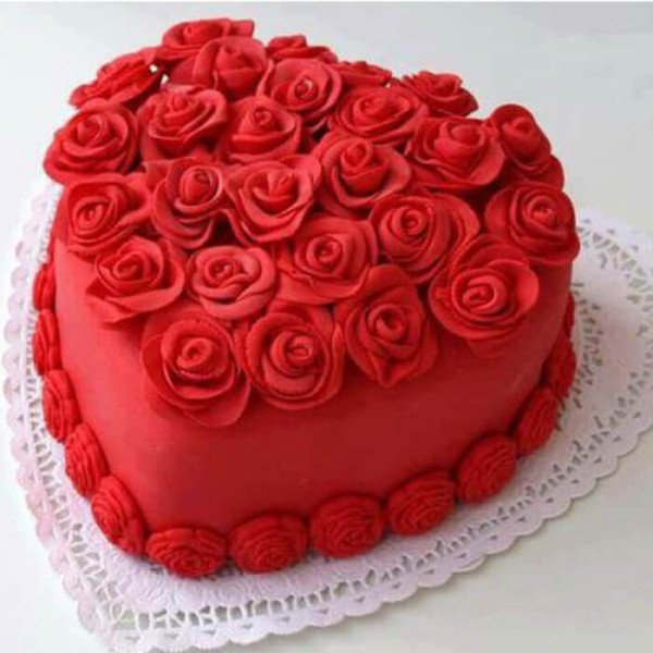 Heart Shape Red Velvet Flowery Cake