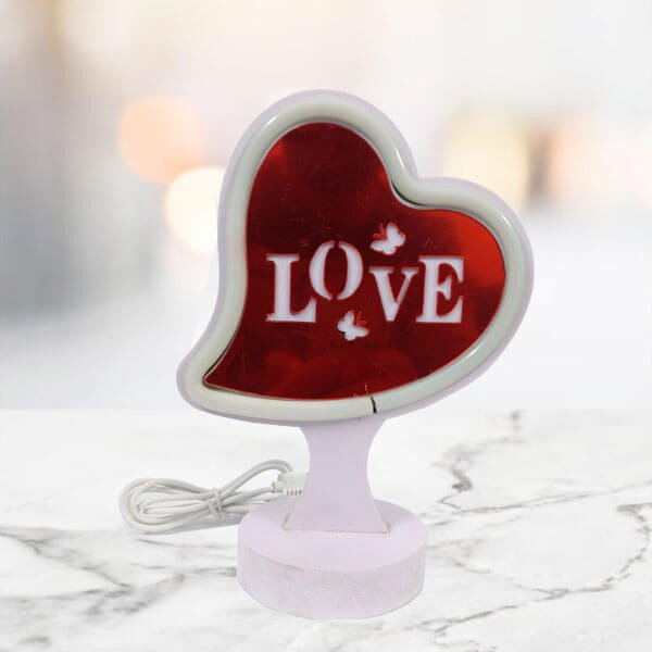 Red LED Heart Shaped Lamp