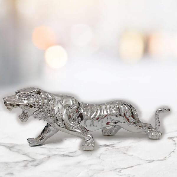 Silver Plated Jaguar Statue