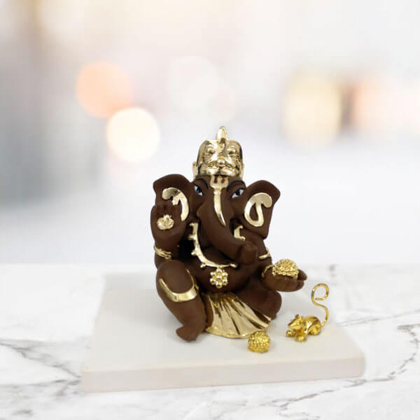 Ganesha Gold Plated Marble Idol