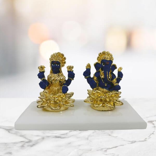 Laxmi Ganesha Statue Blue