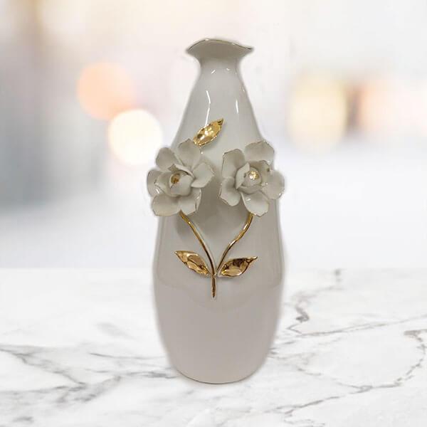Off White Ceramic Flower Vase