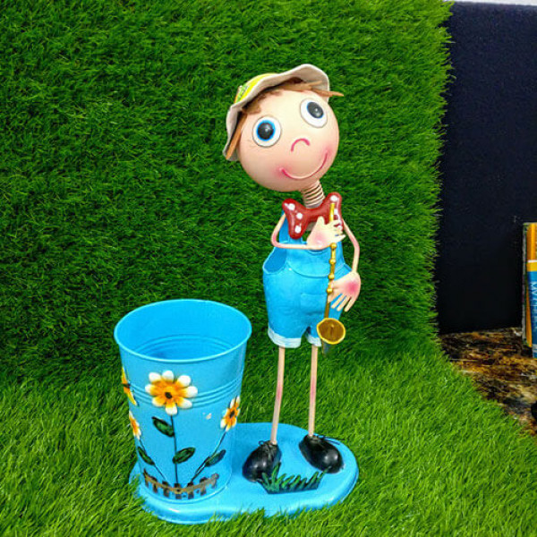 Metal Garden Pots Small Blue Boy