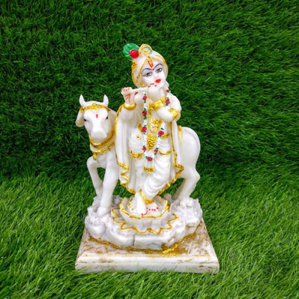 Large Krishna Murti Besides Cow Idol