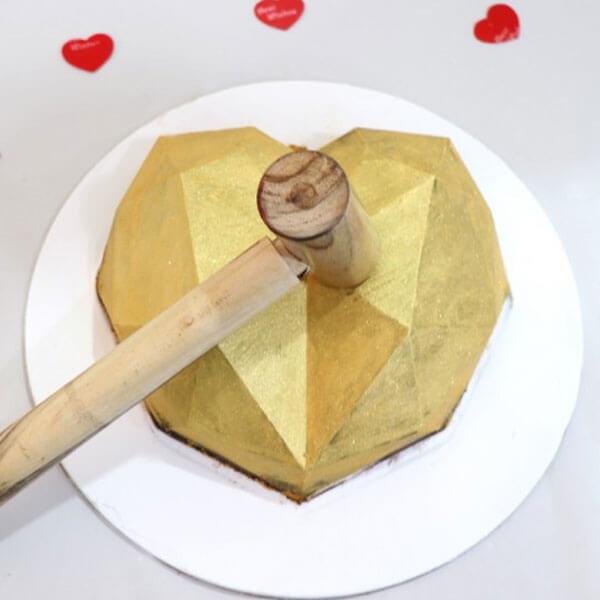 Golden Heart Pinata Cake