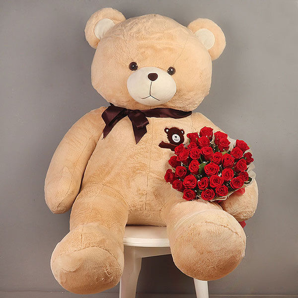 Huge Teddy Bear with 30 Red Roses Bunch