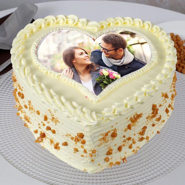 Heart Shaped Butterscotch Photo Cake Half Kg