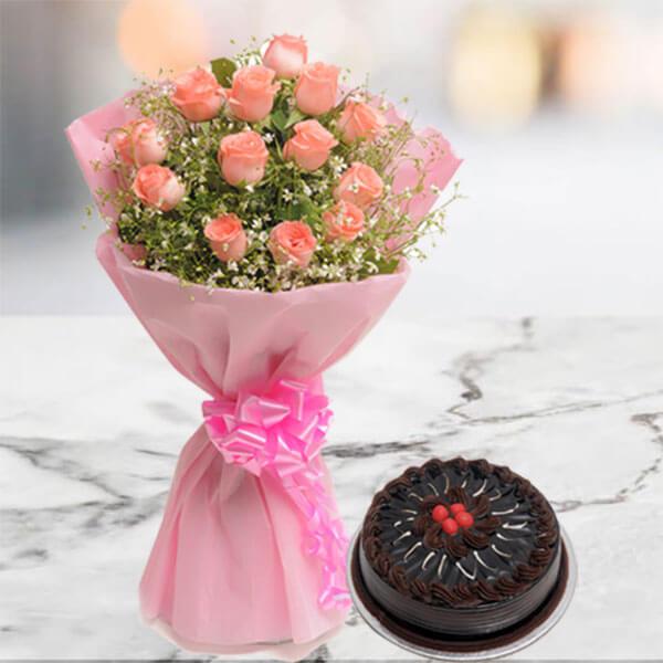 Blushing 12 Pink Roses with 500gm Chocolate Cake