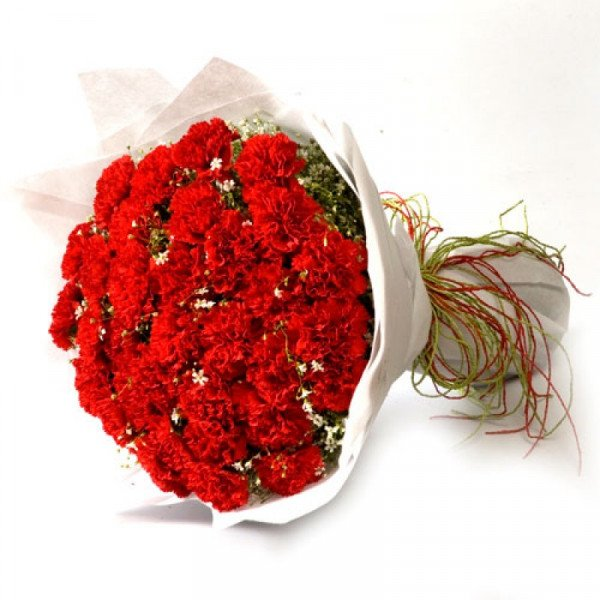 Sweet Flame 40 Red Carnations